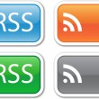 Royalty-Free Stock Imagem Vetorial: Four rectangular vector RSS button