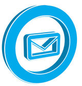 Icon e-mail blue on a white background — ストックベクタ