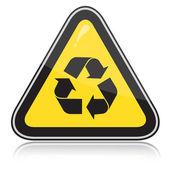 Gelbe aufmerksamkeit recycling zeichen — Stockvektor