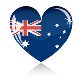 Vector heart with Australia flag — ストックベクタ