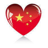 Vector heart with China flag — Stock Vector