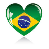 Vector heart with Brazil flag — Stock Vector