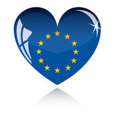 Vector heart with Europe flag — Stock Vector