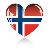 Vector heart with Norwey flag — Stock Vector