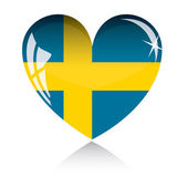 Vector heart with Sweden flag — Stock Vector