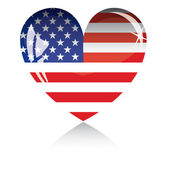 Heart with US flag texture — Stock Vector