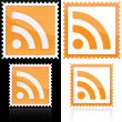 Stamp with RSS icon — Stock vektor
