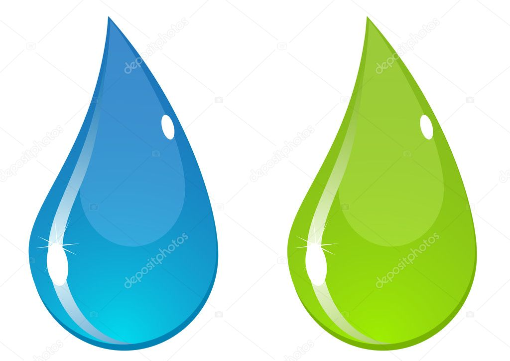 Two vector water drops with flashes. Blue and green.  Stock Vector #2196158