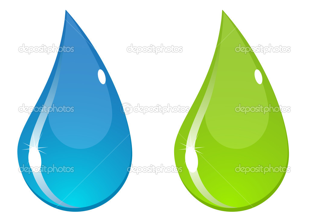 Two vector water drops with flashes. Blue and green. — Vettoriali Stock  #2196158
