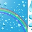 Water drops with rainbow. — Stock Vector