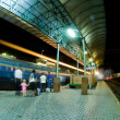 Road train station at night — Stock Photo
