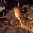 Stock Photo: Molten steel pouring