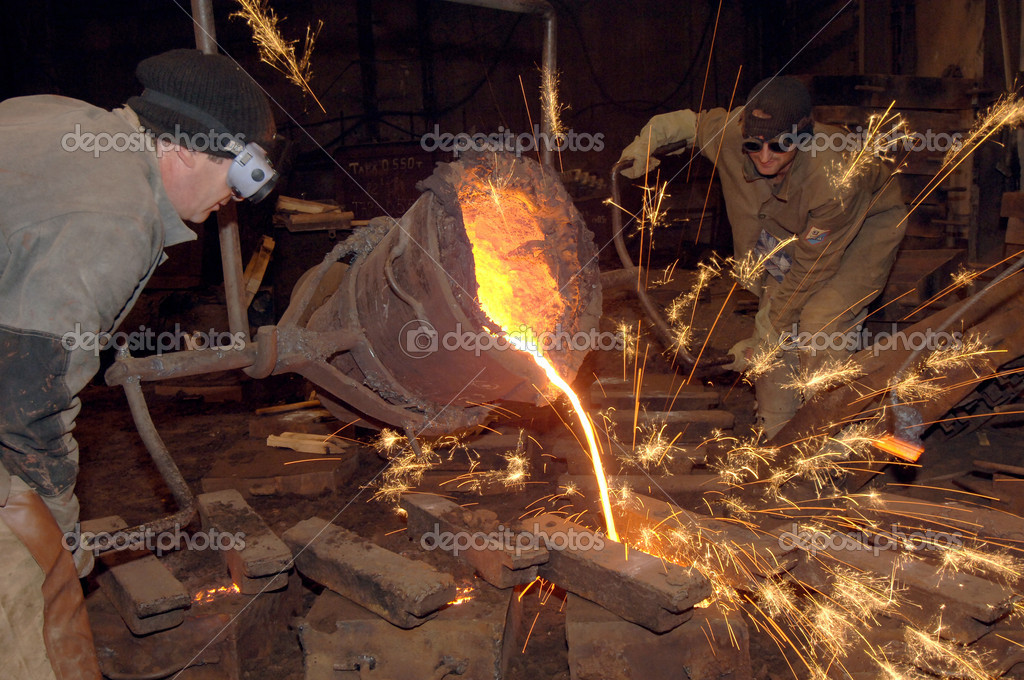 Molten steel pouring — Foto Stock #1929248