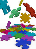 Puzzles color — Stock Photo