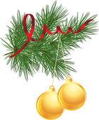 常绿圣诞树与球 — 图库矢量图片