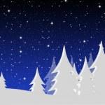 Winter night landscape — Stock Photo