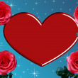 Stock Photo: Heart with red roses illustration.