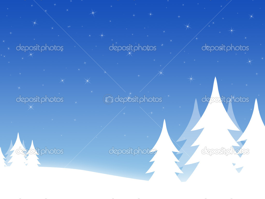 Christmas background with threes and hills  Stockfoto #1102593