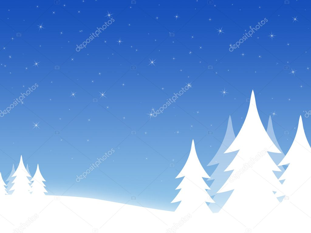 Christmas background with threes and hills  Photo #1102593