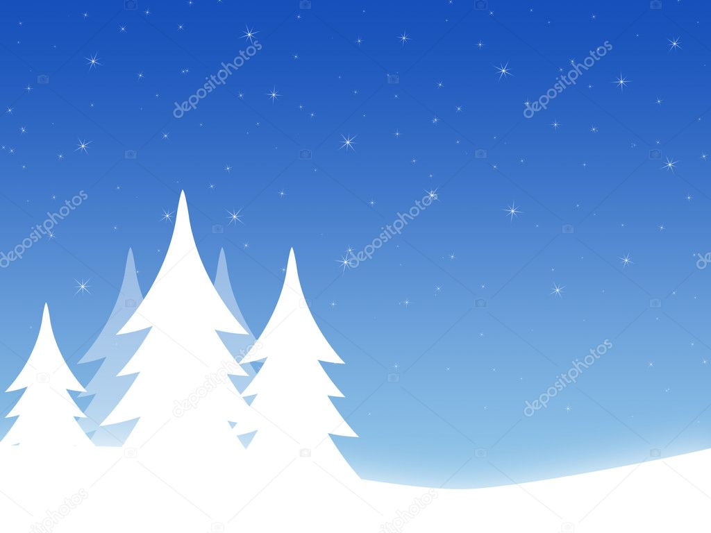 Christmas background with threes and hills — Stock Photo #1103539