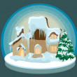 Vector de stock : CHRISTMAS HOUSE IN THE SNOW