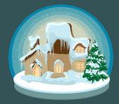 圣诞房子在雪中 — 图库矢量图片