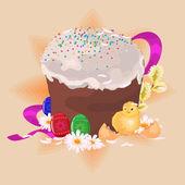 复活节蛋糕和鸡鸡蛋 — 图库矢量图片