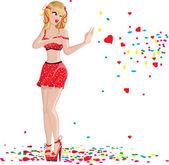застенчивая девушка, gesturing остановить — Cтоковый вектор