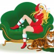 Vector de stock : Girl and tiger on eve of Christmas
