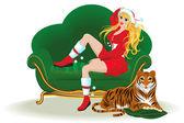 Meisje en een tijger aan de vooravond van kerstmis — Stockvector