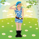 Flicka soldater salut — Stockvektor