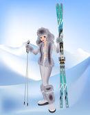 Belle fille avec ski alpin — Vecteur