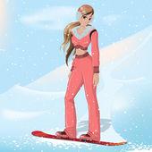 Dívka snowboardu — Stock vektor