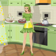Vector de stock : Girl with baking