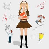 女学生 — 图库矢量图片