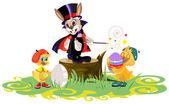 Králík a kuřata barvená vejce na velikonoce — Stock vektor