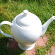 Big white teapot — Stock Photo