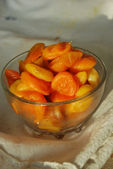 Dried apricots in a teabowl — Stock Photo