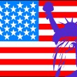 Statue of liberty with American flag - Stock Vector