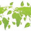Vector green world map. — Stock Vector