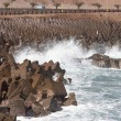 Breakwater at Arica harbor - Stock Photo