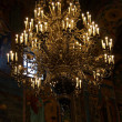 Chandelier in russian orthodox temple, P — Stock Photo