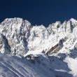 Stok fotoğraf: Blue sky over mountains after snowfall,