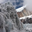 Stock Photo: Steep ice wall at glacier tongue, Himala