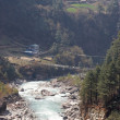 Suspension bridge across Dudh Kosi river — Stock Photo