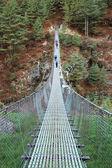 Suspension bridge in Himalaya, Nepal — Stock Photo