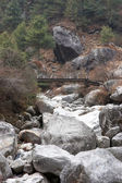 Old bridge, Everest trek, Himalaya, Nepa — Stock Photo
