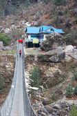 Suspension bridge en route to Everest, H — Stock Photo