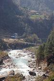 Suspension bridge across Dudh Kosi river — Stock Photo