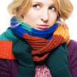 Beauty young sick woman with scarf and g - Stock Photo